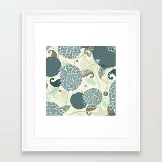 Abstract Floral Blue by Friztin Framed Art Print