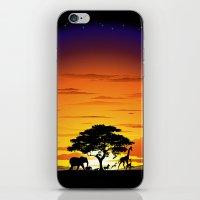 Wild Animals on African Savanna Sunset  iPhone & iPod Skin