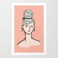 fille portant cheveux Art Print