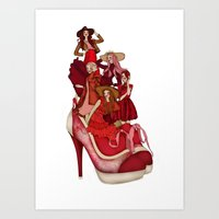 Ladies In Red Art Print