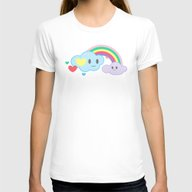 Clouds And Rainbows Kawa… Womens Fitted Tee White SMALL