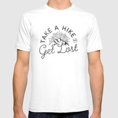 TAKE A HIKE White SMALL Mens Fitted Tee