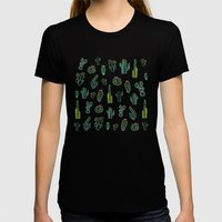 Dark Watercolour Cactus Womens Fitted Tee Black SMALL