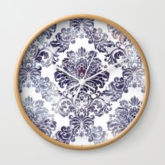 Blueberry Damask Wall Clock