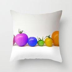 Rainbow Tomatoes Throw Pillow