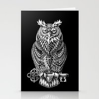 owl Stationery Cards featuring Great Horned Owl by BIOWORKZ