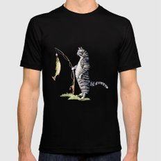 Cat with a Fish Mens Fitted Tee Black SMALL