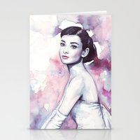 audrey hepburn Stationery Cards featuring Audrey Hepburn by Olechka
