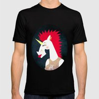Punk Rock Unicorn Mens Fitted Tee Black SMALL