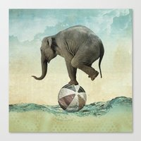 Elephant At Sea Canvas Print
