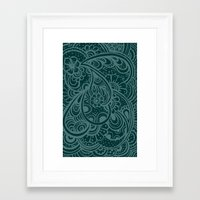 Teal Paisley Framed Art Print