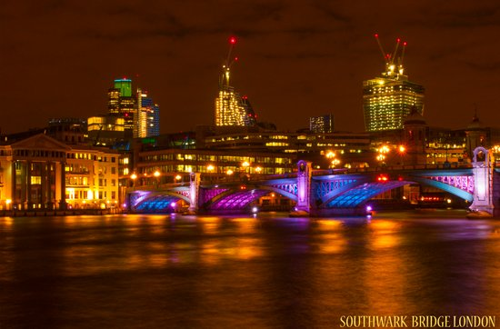 Southwark Bridge Lights up Art Print