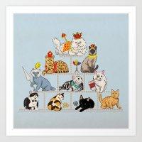 Cats Pyramid Art Print