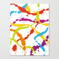 Splattered Rainbow [WHIT… Canvas Print
