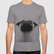 Pondering Pug Mens Fitted Tee Athletic Grey SMALL
