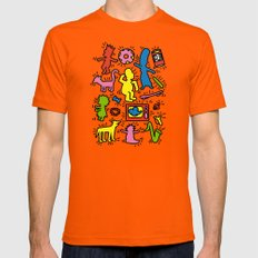 Haring - Simpsons Mens Fitted Tee Orange SMALL