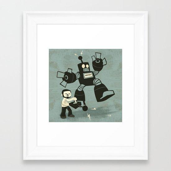 One Button Destruction Framed Art Print