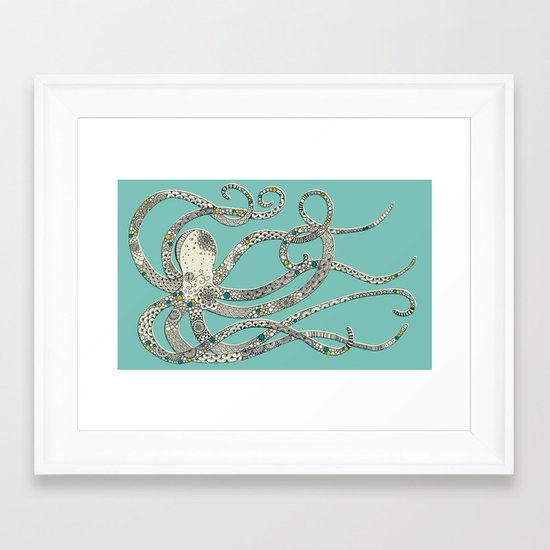 Green Octopus Framed Art Print