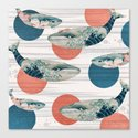 Whales and Polka Dots Canvas Print