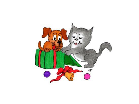Merry Christmas - Cat and Dog  Art Print