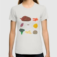 Roast Dinner Womens Fitted Tee Silver SMALL