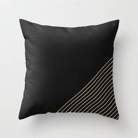 Tan & Black Stripes  Throw Pillow