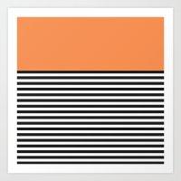 STRIPE COLORBLOCK {ORANGE} Art Print