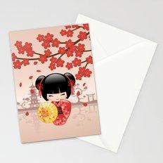 Japanese Red Sakura Kokeshi Doll Stationery Cards
