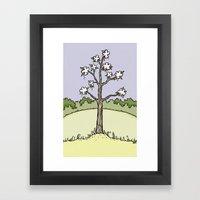 White Flower Tree Framed Art Print