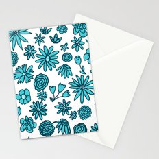 Blue Flowers on White Stationery Cards