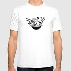 Noodle Wave White SMALL Mens Fitted Tee