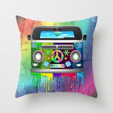 Hippie Bus Van Dripping Rainbow Paint Throw Pillow