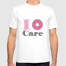i don't care SMALL Mens Fitted Tee White