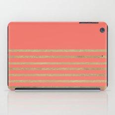 Peach and Gold Stripes iPad Case