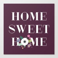 Floral Home Sweet Home - in Plum Canvas Print