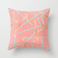 Golden Flamingo Throw Pillow