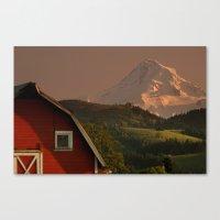 Barn And Mount Hood Canvas Print