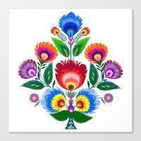 folk flowers ornament  Canvas Print