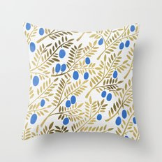 Olive Branches – Gold & Blue Throw Pillow