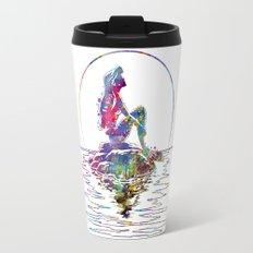 The Little Mermaid Ariel Silhouette Watercolor Travel Mug