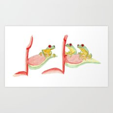 three little frogs Art Print