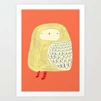 Cute Owl. owl art, owl illustration, owl print, owl decor, nature,  Art Print