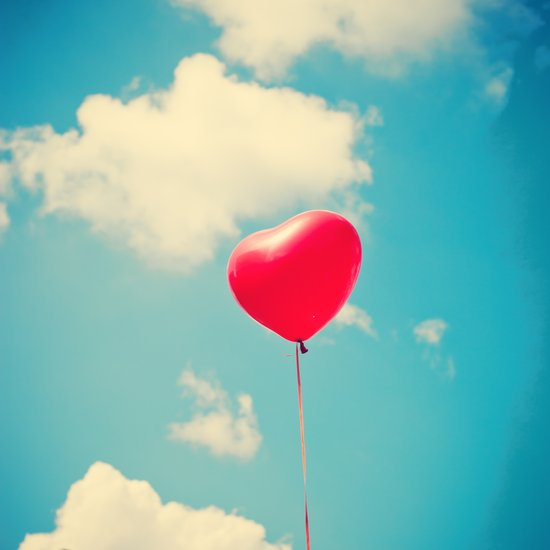 Love is in the air (Red Heart Balloon on a Retro Blue Sky) Art Print