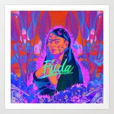 Frida Kahlo neon III Art Print