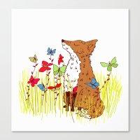 Little Fox In A Butterfl… Canvas Print