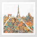 PARIS SKYLINE + MAP #2 Art Print
