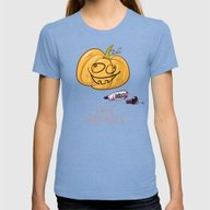 Lazy Halloween Womens Fitted Tee Tri-Blue SMALL