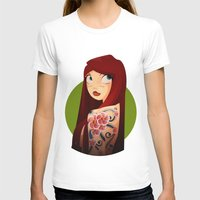 the girl with the flower tattoo Womens Fitted Tee White SMALL