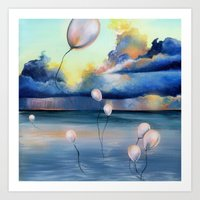 Balloons Over Water Art Print