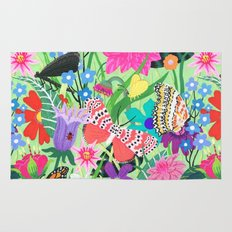 Butterfly and Moths Pattern - Green Rug